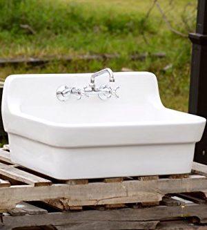White Vintage Style High Back Farm Sink Original Porcelain Finish Apron Kitchen Utility Sink 0 1 300x333
