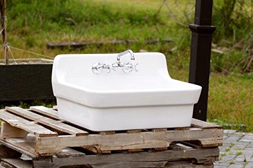 White Vintage Style High Back Farm Sink Original Porcelain Finish Apron Kitchen Utility Sink 0 1