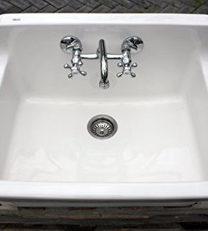 white vintage style high back farm sink original porcelain