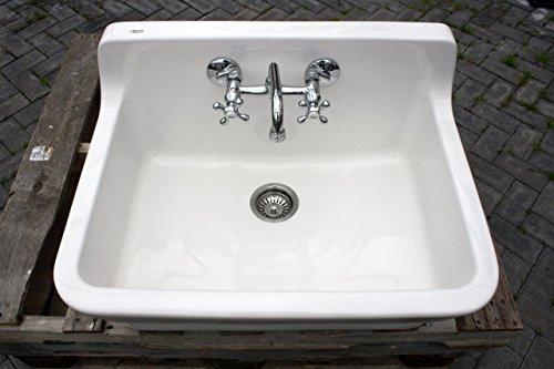 White Vintage Style High Back Farm Sink Original Porcelain Finish Apron Kitchen Utility Sink 0 2