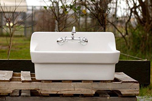 White Vintage Style High Back Farm Sink Original Porcelain Finish Apron Kitchen Utility Sink 0