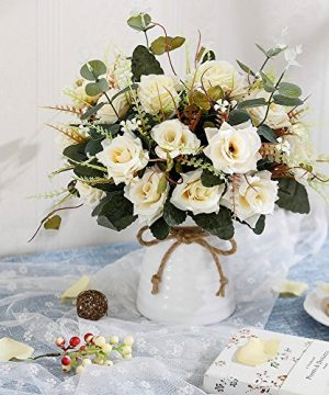 YILIYAJIA Artificial Rose Bouquets With Ceramics Vase Fake Silk Rose Flowers Decoration For Table Home Office Wedding Champagne 0 0 300x360