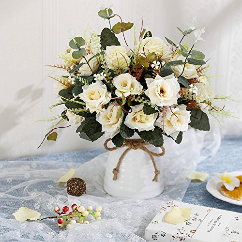 YILIYAJIA Artificial Rose Bouquets With Ceramics Vase Fake Silk Rose Flowers Decoration For Table Home Office Wedding Champagne 0 0