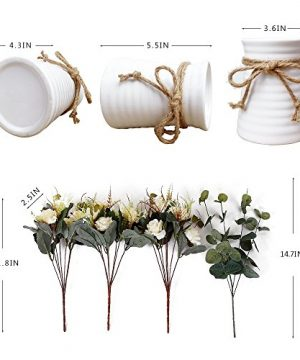 YILIYAJIA Artificial Rose Bouquets With Ceramics Vase Fake Silk Rose Flowers Decoration For Table Home Office Wedding Champagne 0 2 300x360