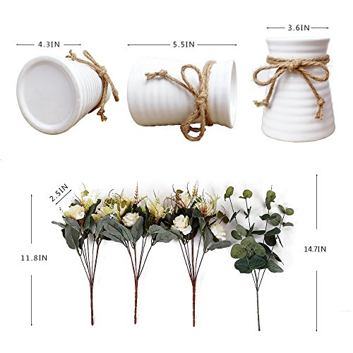 YILIYAJIA Artificial Rose Bouquets With Ceramics Vase Fake Silk Rose Flowers Decoration For Table Home Office Wedding Champagne 0 2