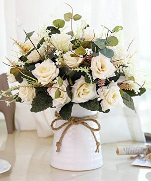 YILIYAJIA Artificial Rose Bouquets With Ceramics Vase Fake Silk Rose Flowers Decoration For Table Home Office Wedding Champagne 0 300x360