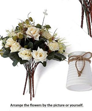 YILIYAJIA Artificial Rose Bouquets With Ceramics Vase Fake Silk Rose Flowers Decoration For Table Home Office Wedding Champagne 0 4 300x360