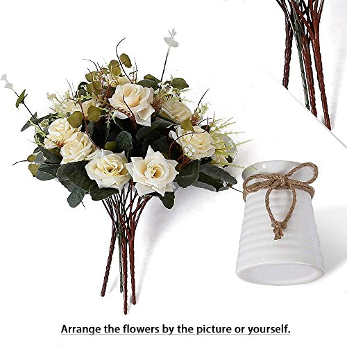 YILIYAJIA Artificial Rose Bouquets With Ceramics Vase Fake Silk Rose Flowers Decoration For Table Home Office Wedding Champagne 0 4
