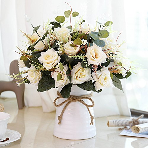 YILIYAJIA Artificial Rose Bouquets With Ceramics Vase Fake Silk Rose Flowers Decoration For Table Home Office Wedding Champagne 0