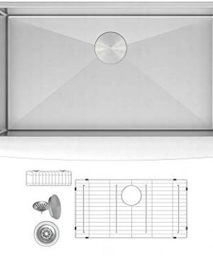 ZUHNE Prato 30 Inch Single Bowl Farm House 16G Stainless Steel Kitchen Sink Scratch Protector Grid Caddy And Strainer Curved Tall Apron 0 300x360