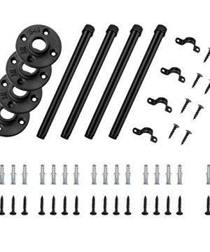 12 Inch Industrial Black Iron Pipe Shelf Brackets Set Of 4 Rustic Wall Mounted DIY Shelving Brackets Hanging Custom Pipe Brackets For Floating Shelves 0 5 300x360