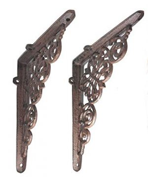 2 Pack Ornate Cast Iron Farmhouse Country Floral Vine Scroll Antique Style BrownBlack Shelf Bracket And Shelf Support Perfect For Shelves Around The House 15 Inch X 775 Inch X 625 Inch CI187 0 300x360