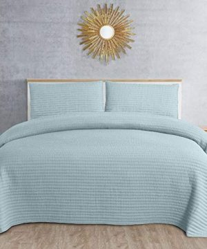 2 Pc Farmhouse Turquoise Quilts Twin Size All Seasons Beautiful Vintage Homespun Look Crisp Luxurious Bedding Set Sophisticated Hypoallergenic Pick Stitched Pattern Envelope Closure Soft Bed Decor 0 300x360