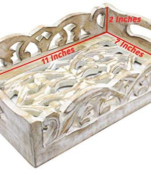 2 Wooden Serving Trays Breakfast Bed Food Lunch Dinner Vase Bed Rustic Farmhouse Hospitality Farm House Wood Serve Hotel Cooking Kitchen Ware White Distressed 0 1 300x338
