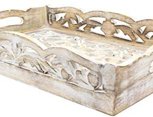 2 Wooden Serving Trays Breakfast Bed Food Lunch Dinner Vase Bed Rustic Farmhouse Hospitality Farm House Wood Serve Hotel Cooking Kitchen Ware White Distressed 0 2 300x231