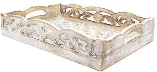 2 Wooden Serving Trays Breakfast Bed Food Lunch Dinner Vase Bed Rustic Farmhouse Hospitality Farm House Wood Serve Hotel Cooking Kitchen Ware White Distressed 0 2