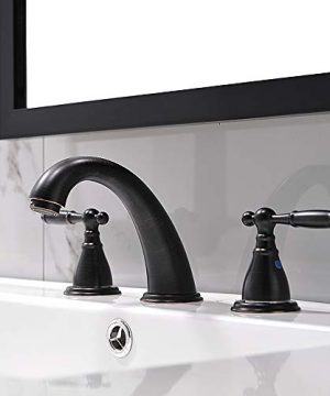 3 Hole Lavatory 2 Handles Oil Rubbed Bronze Widespread Bathroom Faucet By PhiestinaHot And Cold Water Vessel Faucets With Matching Pop Up Drain WF008 4 ORB 0 0 300x360