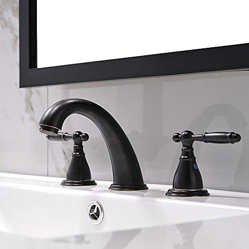 3 Hole Lavatory 2 Handles Oil Rubbed Bronze Widespread Bathroom Faucet By PhiestinaHot And Cold Water Vessel Faucets With Matching Pop Up Drain WF008 4 ORB 0 0