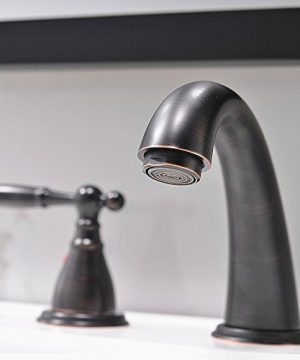 3 Hole Lavatory 2 Handles Oil Rubbed Bronze Widespread Bathroom Faucet By PhiestinaHot And Cold Water Vessel Faucets With Matching Pop Up Drain WF008 4 ORB 0 1 300x360