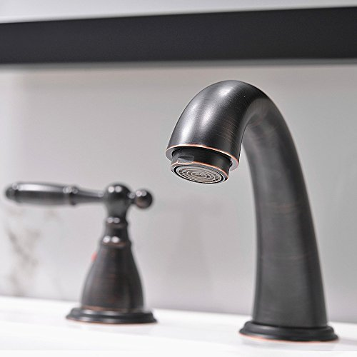 3 Hole Lavatory 2 Handles Oil Rubbed Bronze Widespread Bathroom Faucet By PhiestinaHot And Cold Water Vessel Faucets With Matching Pop Up Drain WF008 4 ORB 0 1