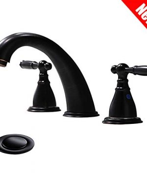 3 Hole Lavatory 2 Handles Oil Rubbed Bronze Widespread Bathroom Faucet By PhiestinaHot And Cold Water Vessel Faucets With Matching Pop Up Drain WF008 4 ORB 0 300x360