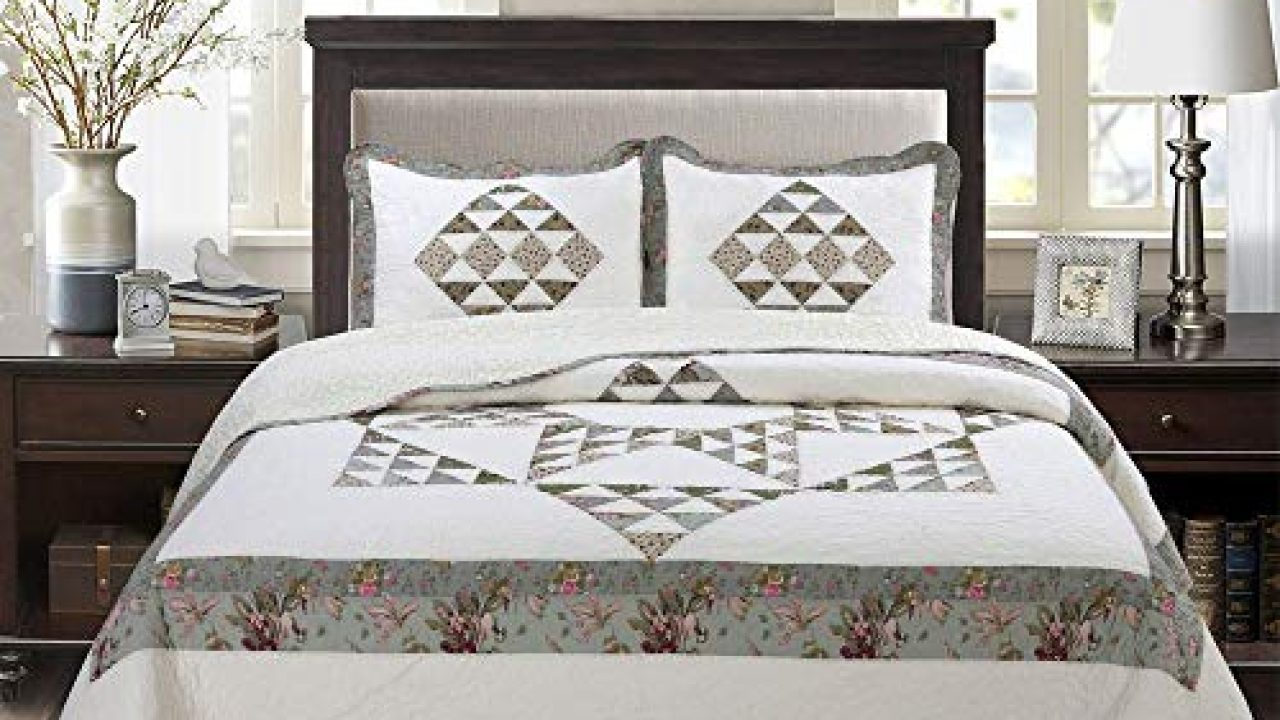 Christmas Farmhouse Flannel Country Cabin Patchwork King Comforter Set 3 Pc