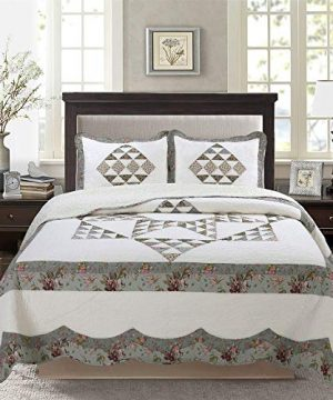 3 Pc Floral Patchwork Geo Quilt Set Farmhouse Style Multicolor King Bedding Set Small Down Triangle Floral Print Individual Patches Cutting Sewing Together 8 Stars Design Truly Classic Constructed 0 300x360
