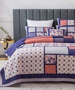 3 Piece Country Multi Color Boho Quilt Set Cheerful Vibrant Various Vintage Floral Stripe Plaid Patterns Patchwork Quilt Queen Size Solid Dark Plum Reverse Lightweight Luxurious Farmhouse Bedding Set 0 0 300x360