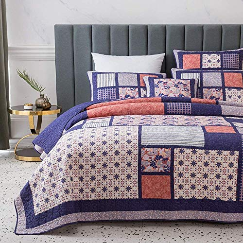 3 Piece Country Multi Color Boho Quilt Set Cheerful Vibrant Various Vintage Floral Stripe Plaid Patterns Patchwork Quilt Queen Size Solid Dark Plum Reverse Lightweight Luxurious Farmhouse Bedding Set 0 0