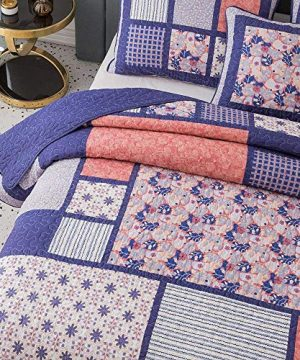 3 Piece Country Multi Color Boho Quilt Set Cheerful Vibrant Various Vintage Floral Stripe Plaid Patterns Patchwork Quilt Queen Size Solid Dark Plum Reverse Lightweight Luxurious Farmhouse Bedding Set 0 1 300x360
