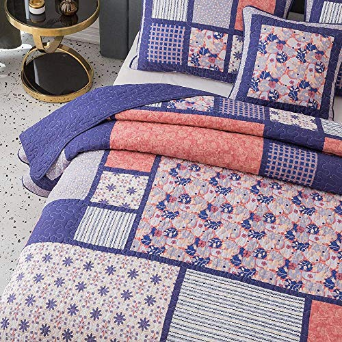 3 Piece Country Multi Color Boho Quilt Set Cheerful Vibrant Various Vintage Floral Stripe Plaid Patterns Patchwork Quilt Queen Size Solid Dark Plum Reverse Lightweight Luxurious Farmhouse Bedding Set 0 1