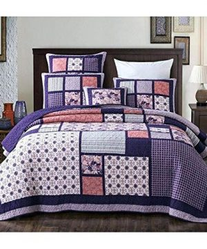 3 Piece Country Multi Color Boho Quilt Set Cheerful Vibrant Various Vintage Floral Stripe Plaid Patterns Patchwork Quilt Queen Size Solid Dark Plum Reverse Lightweight Luxurious Farmhouse Bedding Set 0 300x360