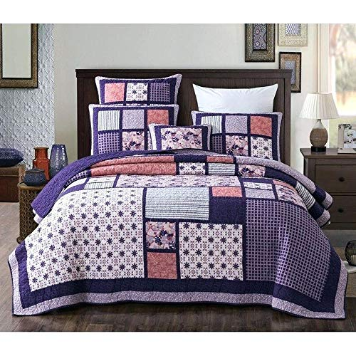 3 Piece Country Multi Color Boho Quilt Set Cheerful Vibrant Various Vintage Floral Stripe Plaid Patterns Patchwork Quilt Queen Size Solid Dark Plum Reverse Lightweight Luxurious Farmhouse Bedding Set 0
