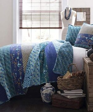 3 Piece Eclectic Peacock Blue Quilt Set King Peaceful All Over Various Abstract Stripe Colorful Small Scale Floral Pattern Boho Quilt Stunning Look Reversible Decorative Vibe Farmhouse Bedding Set 0 300x360