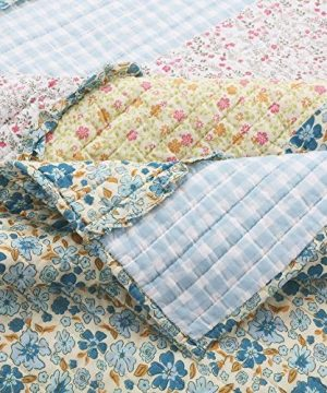 3 Piece Farmhouse Green Quilts Queen Size All Over Vintage Floral Patterns Rustic Traditional Look Bedding Set Ruffled Stripe Gingham Calico Country Style Ditsy Ruffle Reversible Printed Bed Sets 0 0 300x360