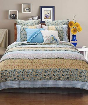 3 Piece Farmhouse Green Quilts Queen Size All Over Vintage Floral Patterns Rustic Traditional Look Bedding Set Ruffled Stripe Gingham Calico Country Style Ditsy Ruffle Reversible Printed Bed Sets 0 1 300x360