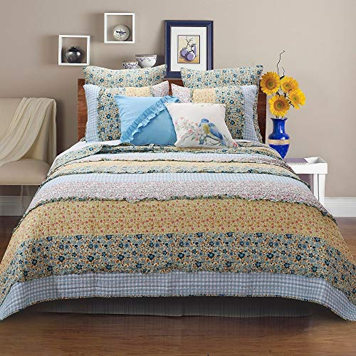 3 Piece Farmhouse Green Quilts Queen Size All Over Vintage Floral Patterns Rustic Traditional Look Bedding Set Ruffled Stripe Gingham Calico Country Style Ditsy Ruffle Reversible Printed Bed Sets 0 1