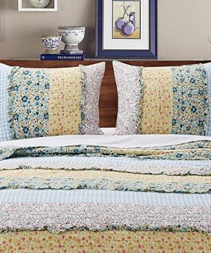 3 Piece Farmhouse Green Quilts Queen Size All Over Vintage Floral Patterns Rustic Traditional Look Bedding Set Ruffled Stripe Gingham Calico Country Style Ditsy Ruffle Reversible Printed Bed Sets 0 2 300x360
