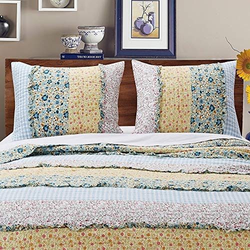 3 Piece Farmhouse Green Quilts Queen Size All Over Vintage Floral Patterns Rustic Traditional Look Bedding Set Ruffled Stripe Gingham Calico Country Style Ditsy Ruffle Reversible Printed Bed Sets 0 2