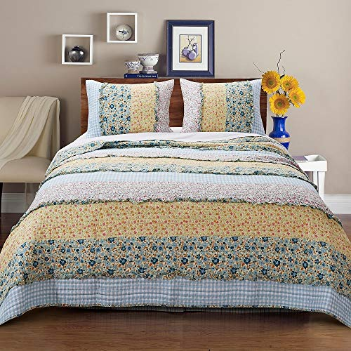 3 Piece Farmhouse Green Quilts Queen Size All Over Vintage Floral Patterns Rustic Traditional Look Bedding Set Ruffled Stripe Gingham Calico Country Style Ditsy Ruffle Reversible Printed Bed Sets 0