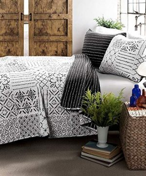 3 Piece Farmhouse Nautical Coastal Full Queen Quilt Set All Season Contemporary Polyester Patchwork Charcoal Grey Cotton Quilt Elegant Comfortable Reversible Stripes Bedding Stylish House Decor 0 300x360