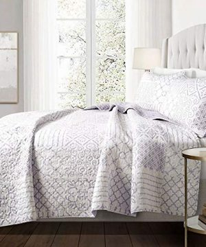3 Piece Farmhouse Nautical Coastal King Size Quilt Set All Season Contemporary Polyester Patchwork Lavender Purple Cotton Quilt Elegant Comfortable Reversible Stripes Bedding Stylish House Decor 0 300x360