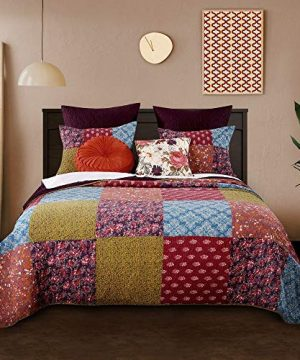 3 Piece Nomadic Tradition Rustic Patchwork Quilt Set Country Farmhouse Style Multicolor King Bedding Set Large Scale Floral Foulard Print Assembled Patches Constructed Heirloom Quality Home Decor 0 0 300x360