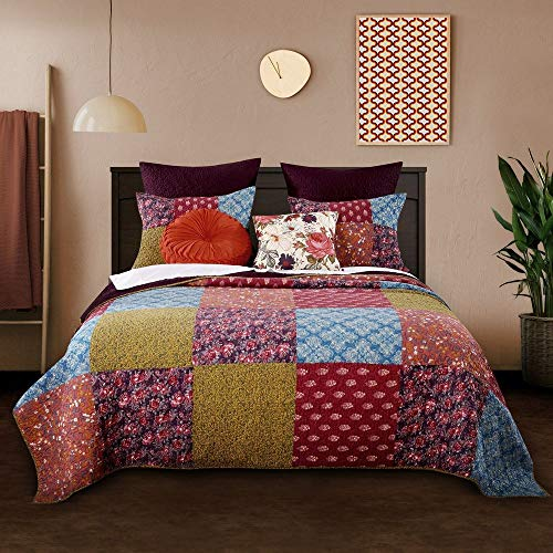 3 Piece Nomadic Tradition Rustic Patchwork Quilt Set Country Farmhouse Style Multicolor King Bedding Set Large Scale Floral Foulard Print Assembled Patches Constructed Heirloom Quality Home Decor 0 0