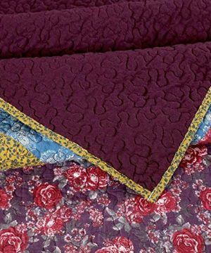 3 Piece Nomadic Tradition Rustic Patchwork Quilt Set Country Farmhouse Style Multicolor King Bedding Set Large Scale Floral Foulard Print Assembled Patches Constructed Heirloom Quality Home Decor 0 1 300x360