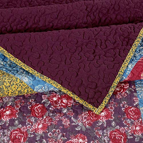3 Piece Nomadic Tradition Rustic Patchwork Quilt Set Country Farmhouse Style Multicolor King Bedding Set Large Scale Floral Foulard Print Assembled Patches Constructed Heirloom Quality Home Decor 0 1