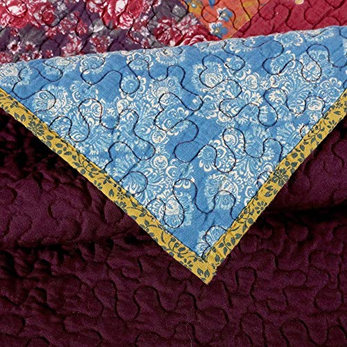 3 Piece Nomadic Tradition Rustic Patchwork Quilt Set Country Farmhouse Style Multicolor King Bedding Set Large Scale Floral Foulard Print Assembled Patches Constructed Heirloom Quality Home Decor 0 2
