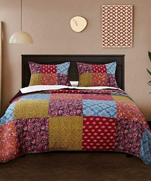 3 Piece Nomadic Tradition Rustic Patchwork Quilt Set Country Farmhouse Style Multicolor King Bedding Set Large Scale Floral Foulard Print Assembled Patches Constructed Heirloom Quality Home Decor 0 300x360