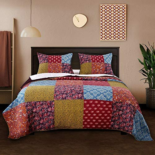 3 Piece Nomadic Tradition Rustic Patchwork Quilt Set Country Farmhouse Style Multicolor King Bedding Set Large Scale Floral Foulard Print Assembled Patches Constructed Heirloom Quality Home Decor 0