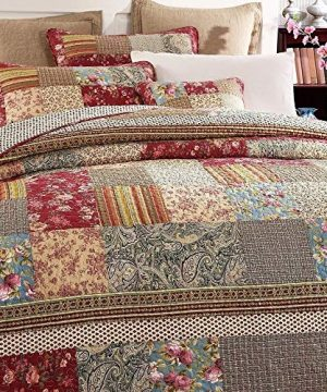 3 Piece Rustic Multi Red Quilt Set Delicate Paisley Floral Striped Plaid Mixed Pattern Patchwork Quilt California King Size Lightweight Reversible Small Ditsy Flowers Print Reverse Farmhouse Bedding 0 0 300x360